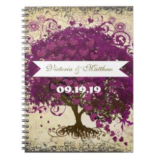 Sangria Magenta Purple Heart Leaf Wedding Notebook
