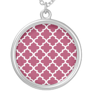 Sangria Moroccan Tile Trellis Pattern Silver Plated Necklace