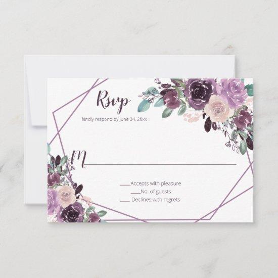 Sangria Purple Floral Geometric | RSVP Card