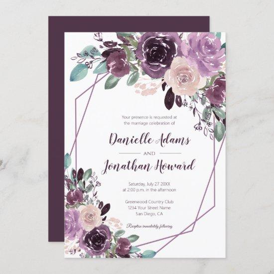Sangria Purple Floral Geometric Wedding | Invitation