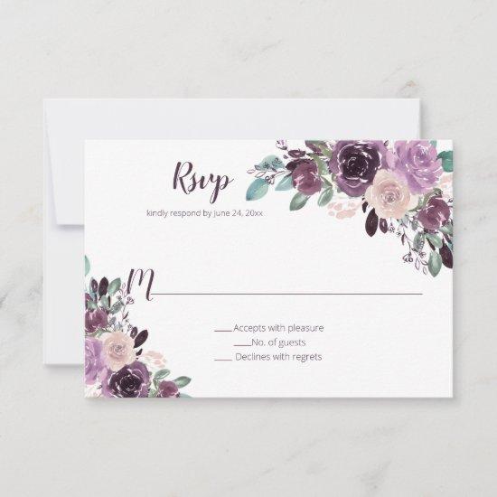 Sangria Purple Floral | RSVP Card