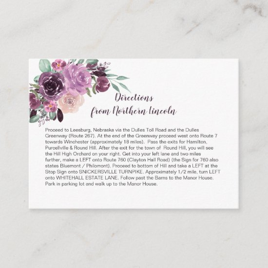 Sangria Purple Mauve Floral Directions   Enclosure Card