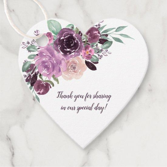 Sangria Purple Mauve Floral Heart Wedding | Favor Tags