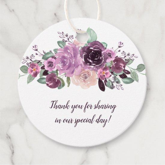 Sangria Purple Mauve Floral Round Wedding | Favor Tags