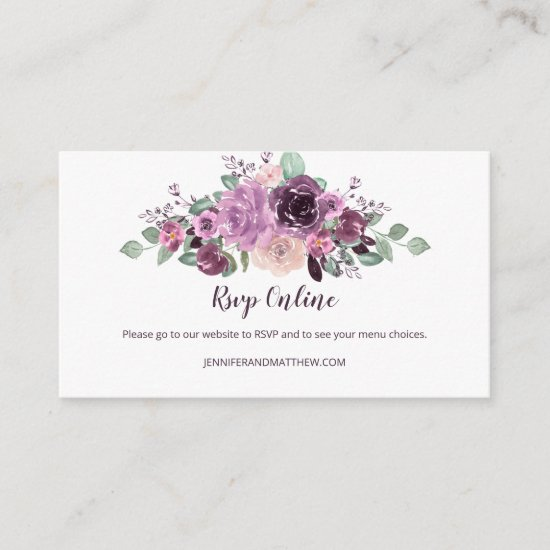 Sangria Purple Mauve Floral RSVP Online | Enclosure Card