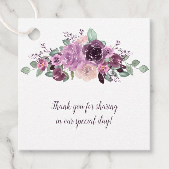 Sangria Purple Mauve Floral Square Wedding | Favor Tags