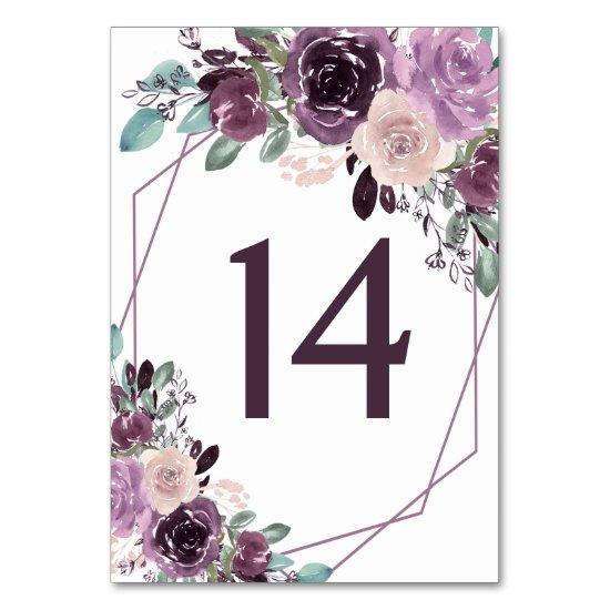 Sangria Purple Mauve Geometric Floral Wedding | Table Number