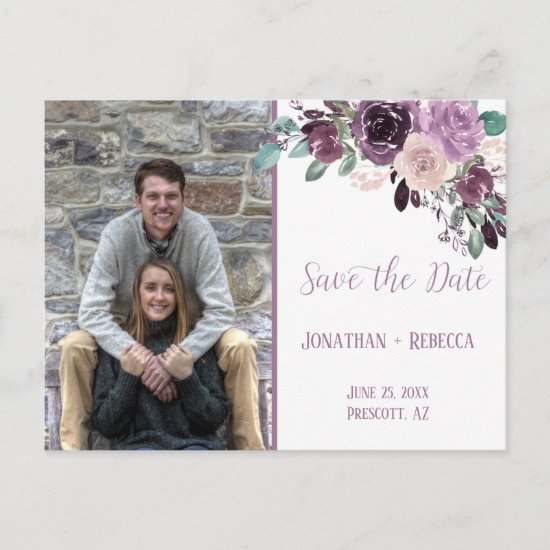 Sangria Purple Mauve Photo Save The Date Announcement Postcard
