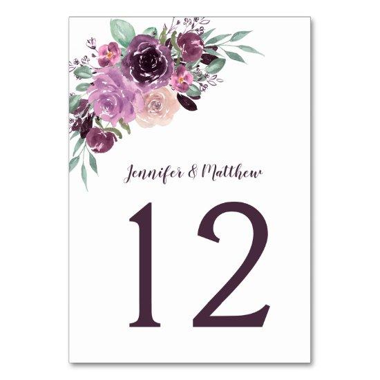 Sangria Purple Mauve Watercolor Floral | Table Number