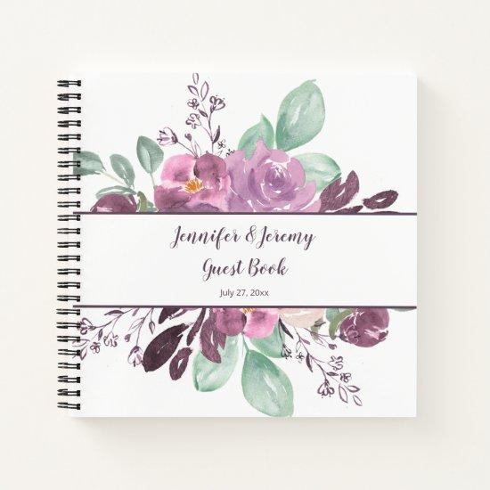 Sangria Purple Watercolor Floral Guest Book