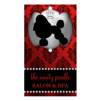 Sangria Red Jeweled Damask Dog Grooming/Spa Business Card Templates