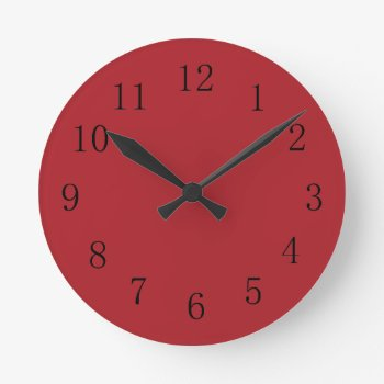 Sangria Red Kitchen Wall Clock by Red_Clocks at Zazzle