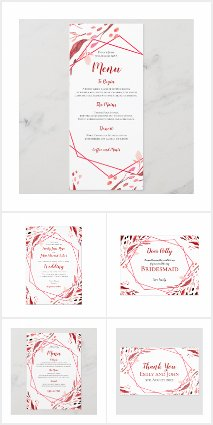 SANGRIA RED WATERCOLOR LEAVES WEDDING COLLECTION