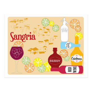 Sangria Red Wine Cocktail Postcard