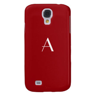 Sangria Red with White Monogram Galaxy S4 Covers