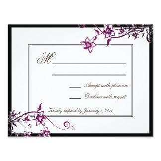 Sangria White Floral Blossom Wedding Response RSVP Personalized Announcements