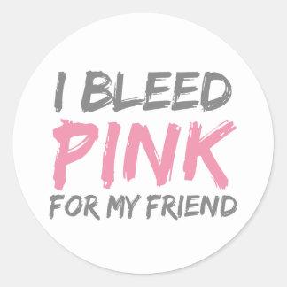 Sangro al amigo rosado del cáncer de pecho pegatina redonda
