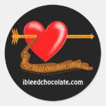 Sangro el chocolate pegatina redonda
