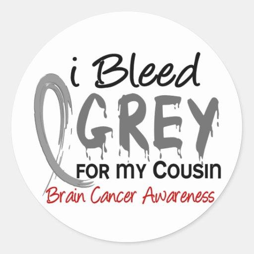 Sangro el gris para mi cáncer de cerebro del primo etiquetas redondas