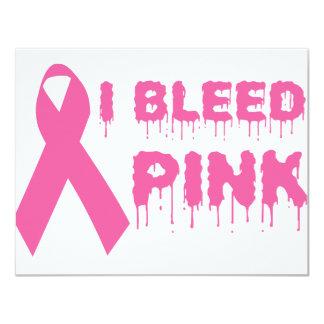 Sangro el rosa - cinta de la conciencia del cáncer invitación 10,8 x 13,9 cm