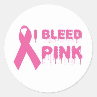 Sangro el rosa - cinta de la conciencia del cáncer pegatina redonda