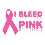 Sangro el rosa - cinta de la conciencia del cáncer postal