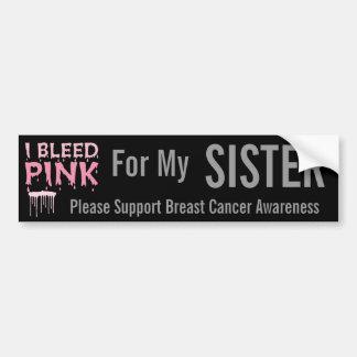 Sangro el rosa para mi conciencia del cáncer de pe etiqueta de parachoque