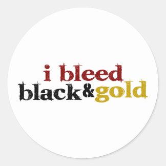 Sangro negro y el oro pegatina redonda