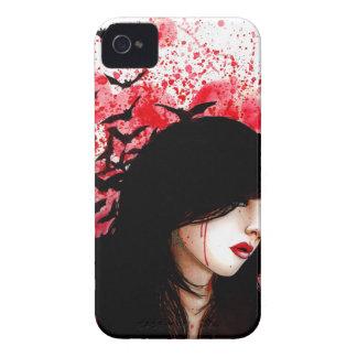 Sanguine - Girl with Bats Horror Portrait iPhone 4 Case