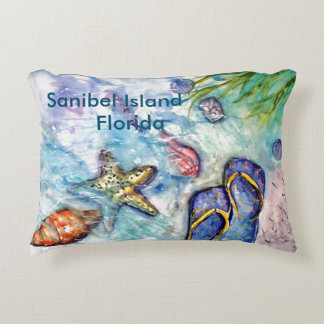 Sanibel Flip Flops watercolor Accent Pillow