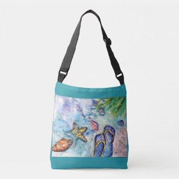 Beach Themed Sanibel Flip Flops Watercolor Crossbody Bag