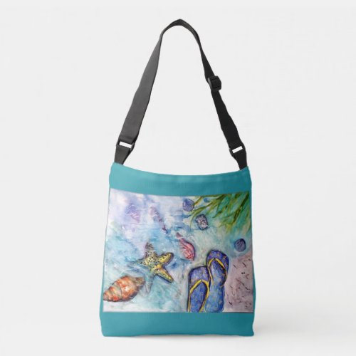 Sanibel Flip Flops Watercolor Crossbody Bag