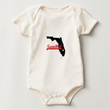 Beach Themed Sanibel Florida. Baby Bodysuit