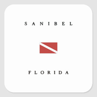 Sanibel Florida Scuba Dive Flag Square Sticker