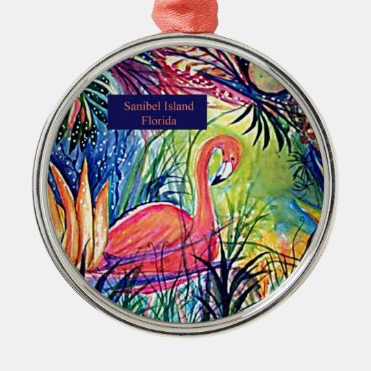 Sanibel Island Flamingo Art Metal Ornament