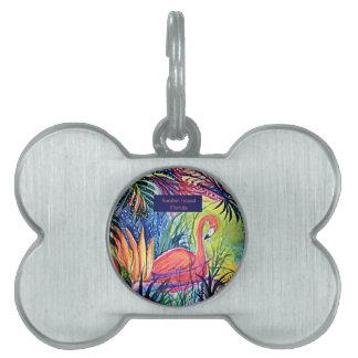 Sanibel Island Flamingo Art Pet Tags
