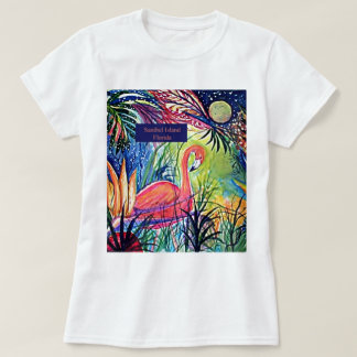 Sanibel Island Flamingo Art T-Shirt