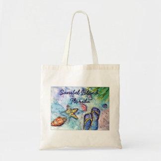 Sanibel Island Flip Flop watercolor painting Tote Bag