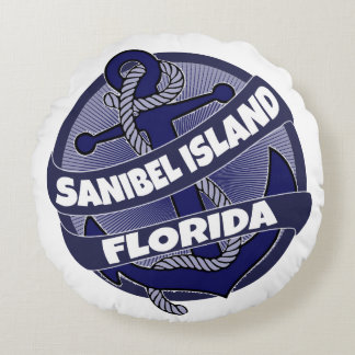 Sanibel Island Florida anchor round pillow