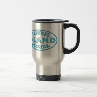 Sanibel Island Florida blue oval Travel Mug