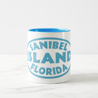 Sanibel Island Florida blue oval Two-Tone Coffee Mug