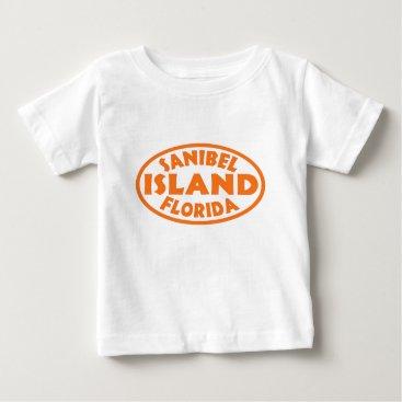 Beach Themed Sanibel Island Florida orange oval Baby T-Shirt