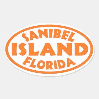 Sanibel Island Florida orange oval stickers
