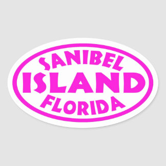 Sanibel Island Florida pink oval stickers