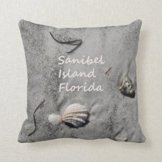 Sanibel Island Florida sand shells Throw Pillows