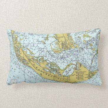 Beach Themed Sanibel Island Florida vintage map Lumbar Pillow