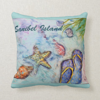 Sanibel Island Florida watercolor Beach theme Throw Pillow