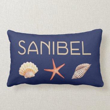 Beach Themed Sanibel  Island Florida with shells Lumbar Pillow
