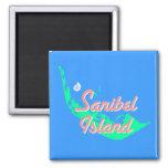 Sanibel Island map outline design 2 Inch Square Magnet