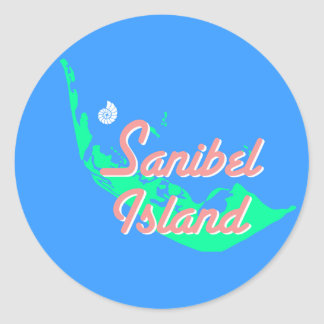 Sanibel Island map outline design Classic Round Sticker
